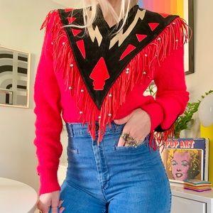 Vintage 80s beaded leather fringe western sweater